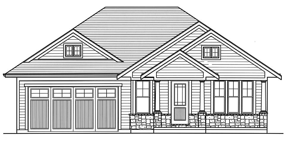 Bungalow, Cottage, Craftsman, Ranch House Plan 80607 with 3 Beds, 2 Baths, 2 Car Garage Picture 3
