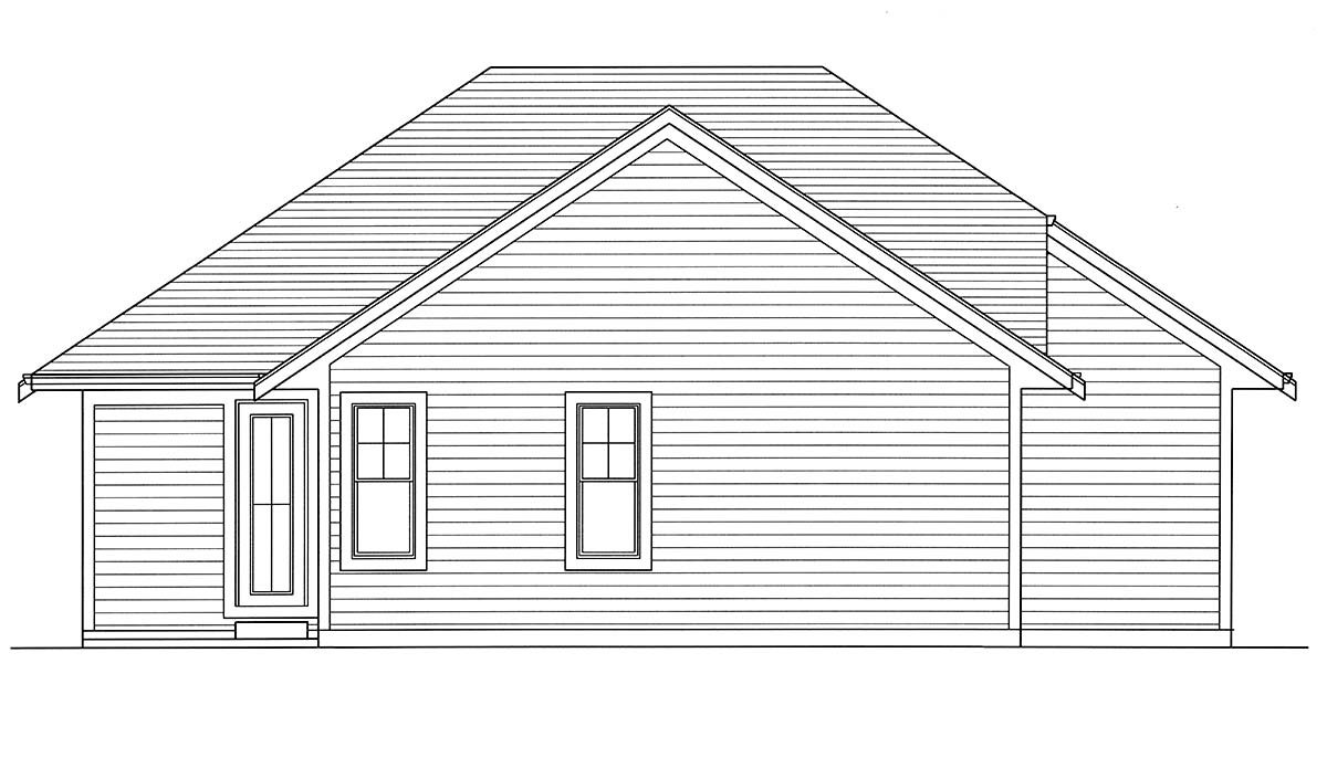 Bungalow, Cottage, Craftsman, Ranch House Plan 80607 with 3 Beds, 2 Baths, 2 Car Garage Rear Elevation