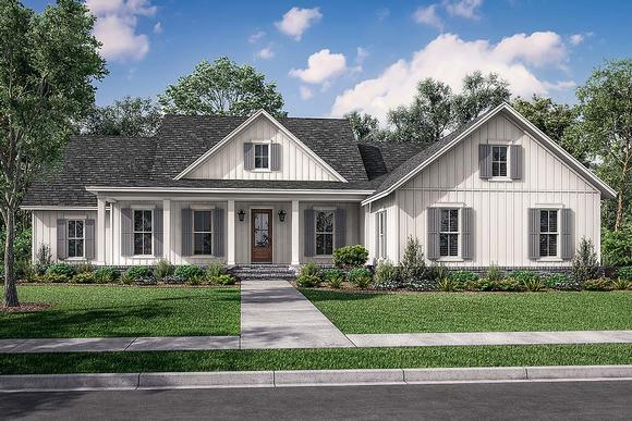 Country, Craftsman, Farmhouse, Traditional House Plan 80804 with 4 Beds, 3 Baths, 2 Car Garage Elevation