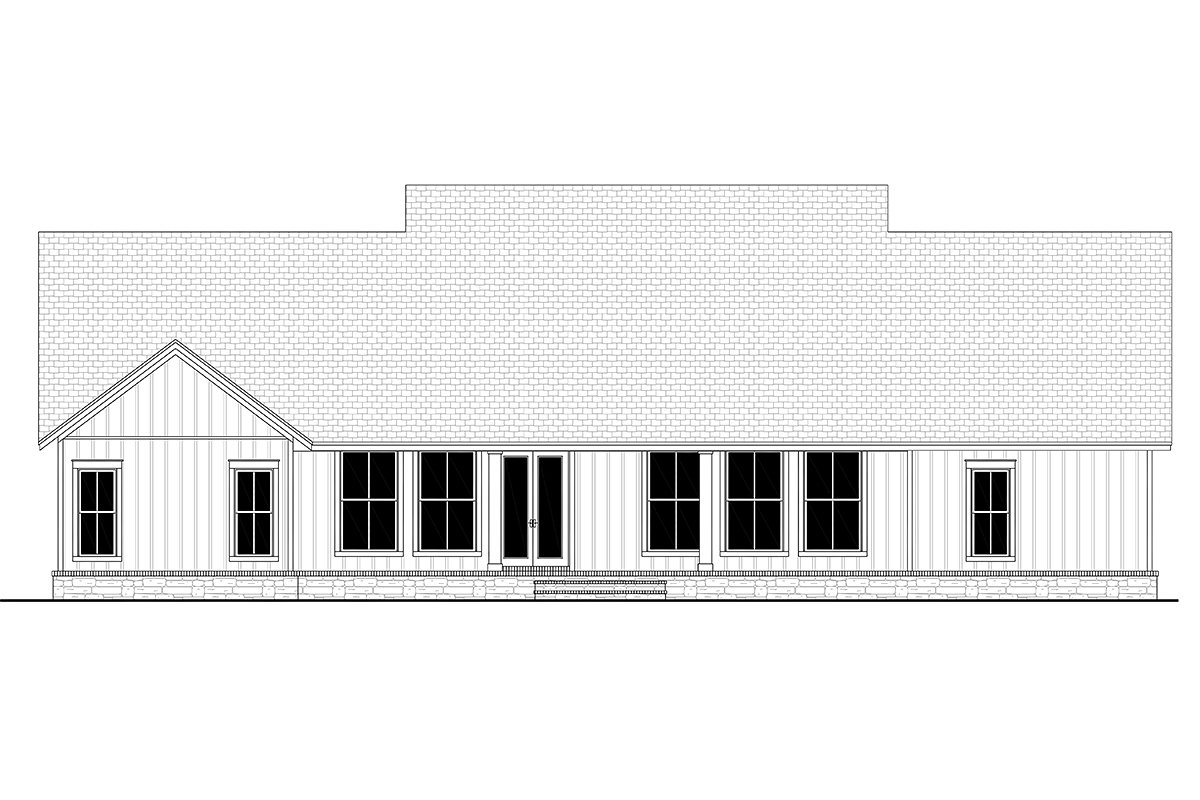 Country, Craftsman, Farmhouse, Traditional House Plan 80804 with 4 Beds, 3 Baths, 2 Car Garage Rear Elevation