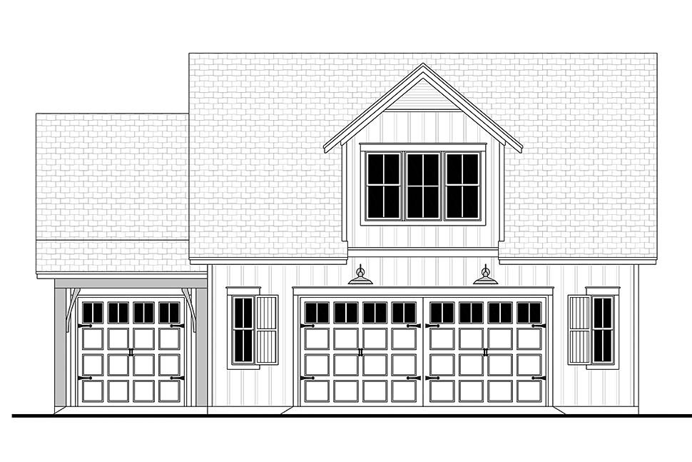 Country, Craftsman, Farmhouse 3 Car Garage Apartment Plan 80809 with 1 Beds, 1 Baths Picture 3