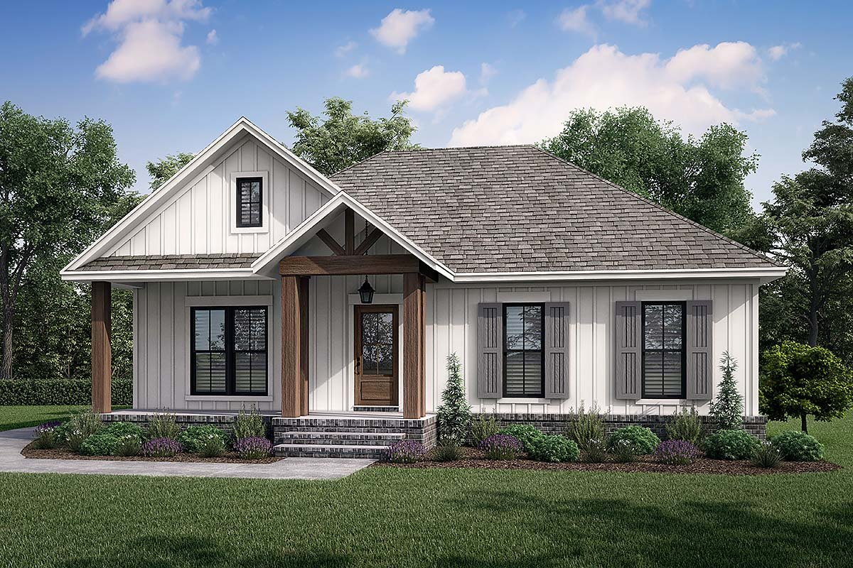 Cottage, Country, Farmhouse House Plan 80811 with 2 Beds, 2 Baths, 2 Car Garage Elevation