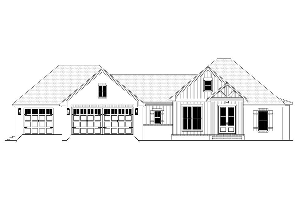 Country, Farmhouse, Traditional House Plan 80812 with 3 Beds, 2 Baths, 3 Car Garage Picture 3