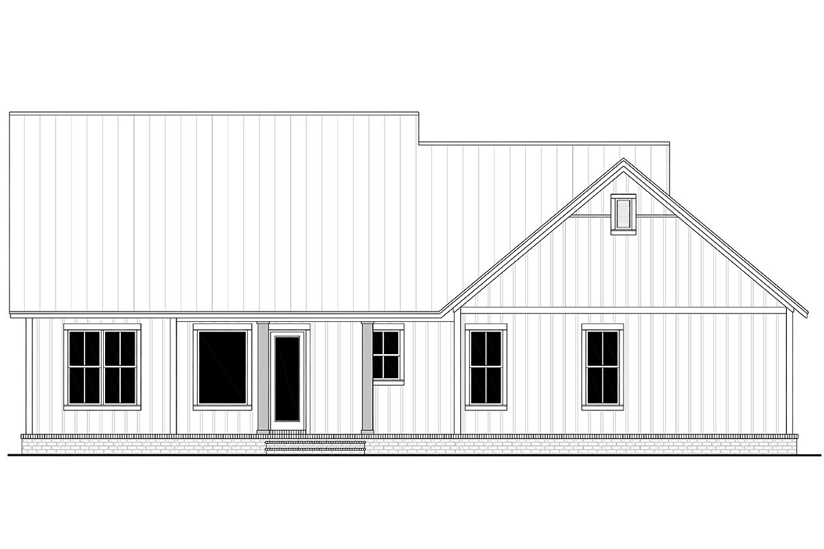 Country, Farmhouse House Plan 80813 with 3 Beds, 2 Baths, 2 Car Garage Rear Elevation