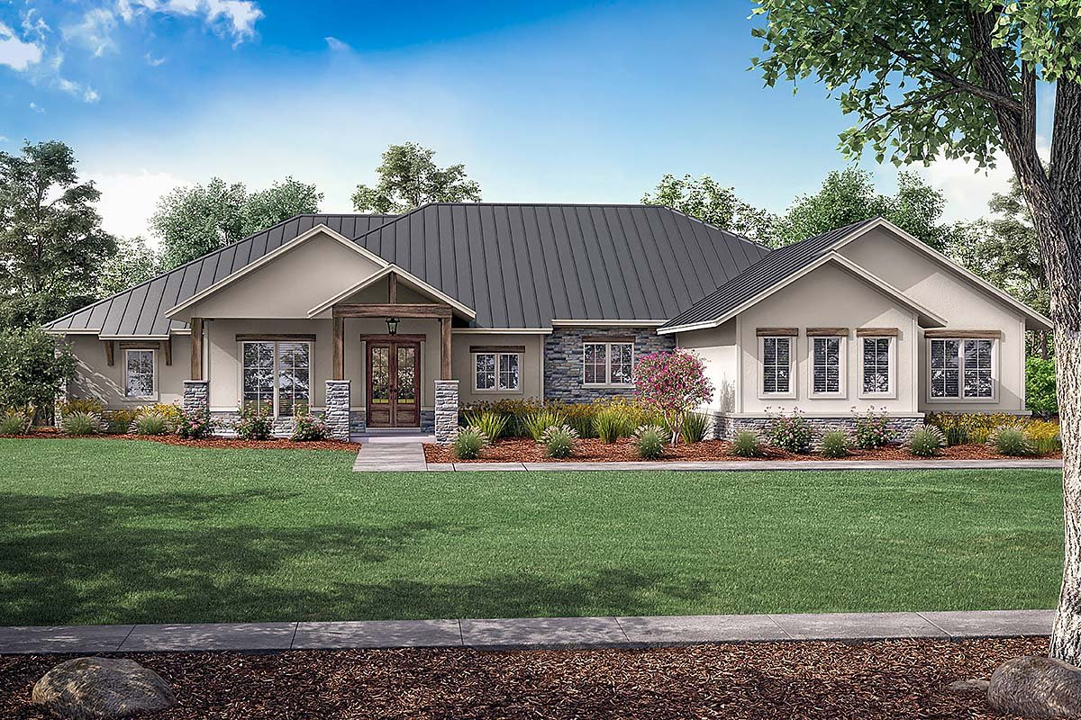 Country, Farmhouse, Ranch House Plan 80814 with 3 Beds, 4 Baths, 3 Car Garage Elevation