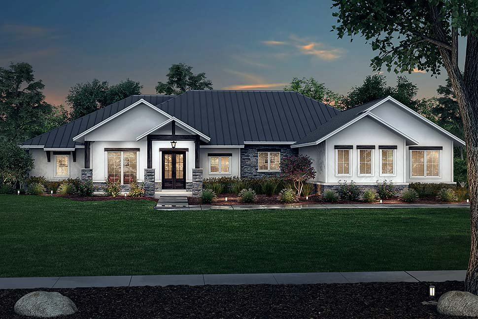 Country, Farmhouse, Ranch House Plan 80814 with 3 Beds, 4 Baths, 3 Car Garage Picture 4