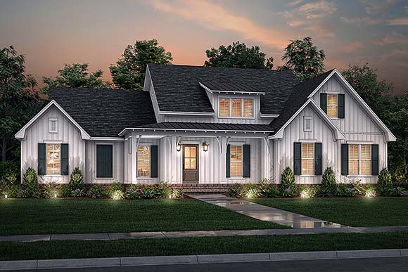Country, Farmhouse, Traditional House Plan 80816 with 3 Beds, 3 Baths, 2 Car Garage Elevation