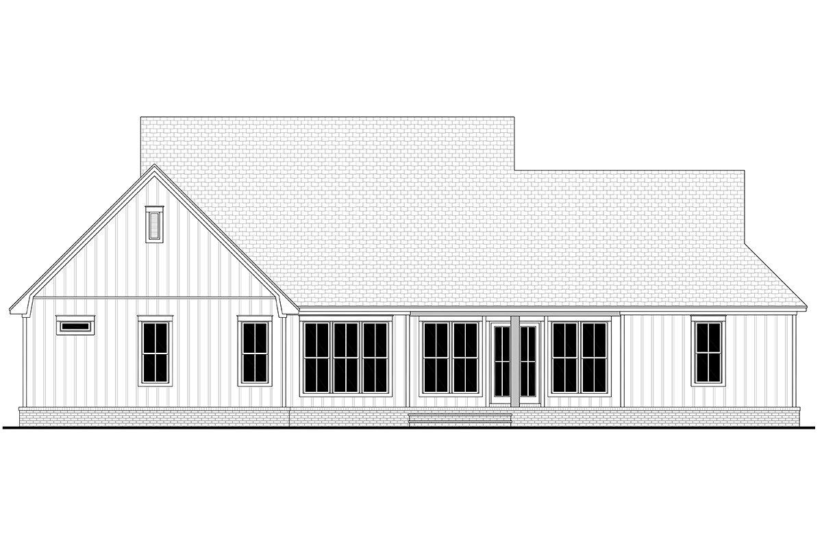 Country, Farmhouse, Traditional House Plan 80816 with 3 Beds, 3 Baths, 2 Car Garage Rear Elevation