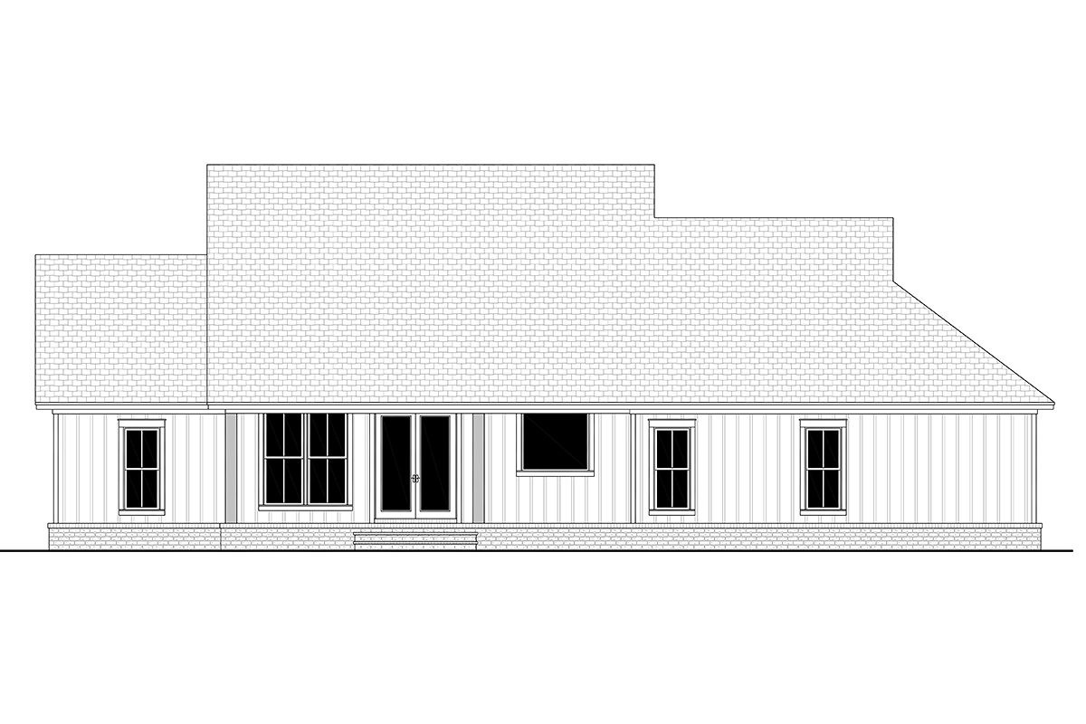 Country, Craftsman, Farmhouse, Traditional House Plan 80817 with 3 Beds, 3 Baths, 2 Car Garage Rear Elevation