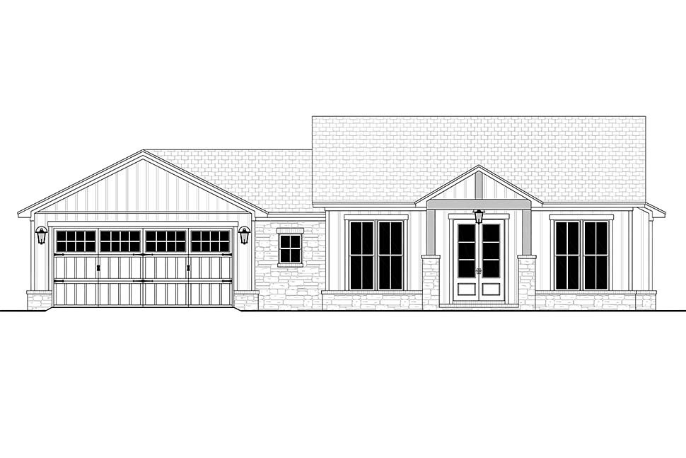 Bungalow, Country, Craftsman, Farmhouse, Ranch House Plan 80818 with 3 Beds, 3 Baths, 2 Car Garage Picture 3