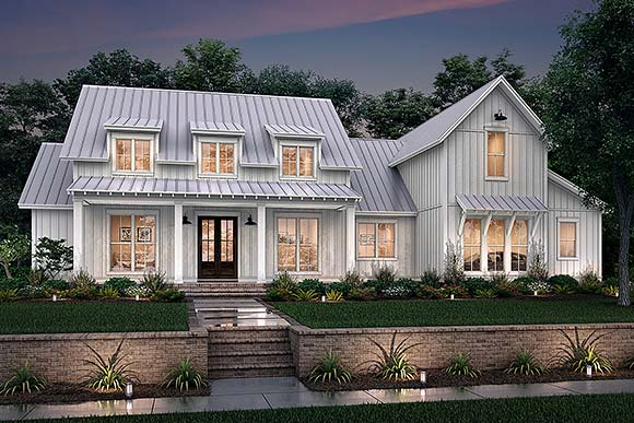 Farmhouse, French Country, Traditional House Plan 80823 with 4 Beds, 4 Baths, 2 Car Garage Elevation