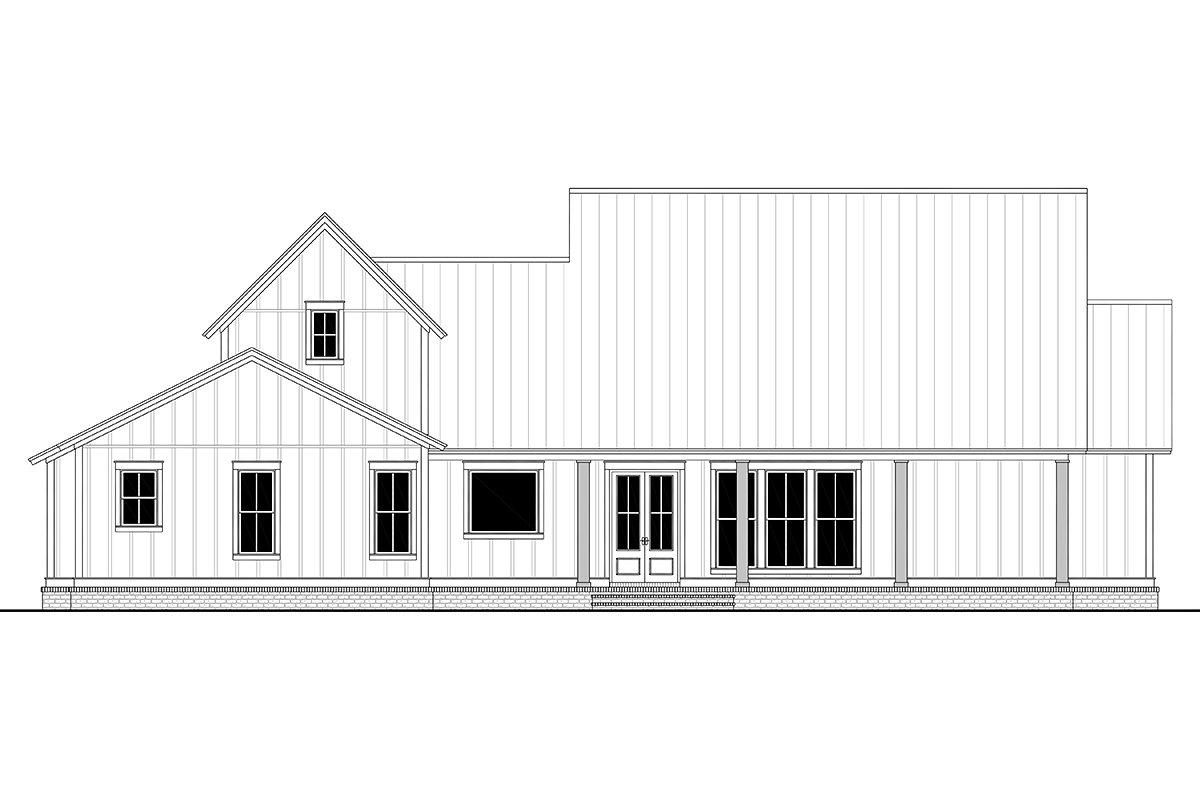 Farmhouse, French Country, Traditional House Plan 80823 with 4 Beds, 4 Baths, 2 Car Garage Rear Elevation