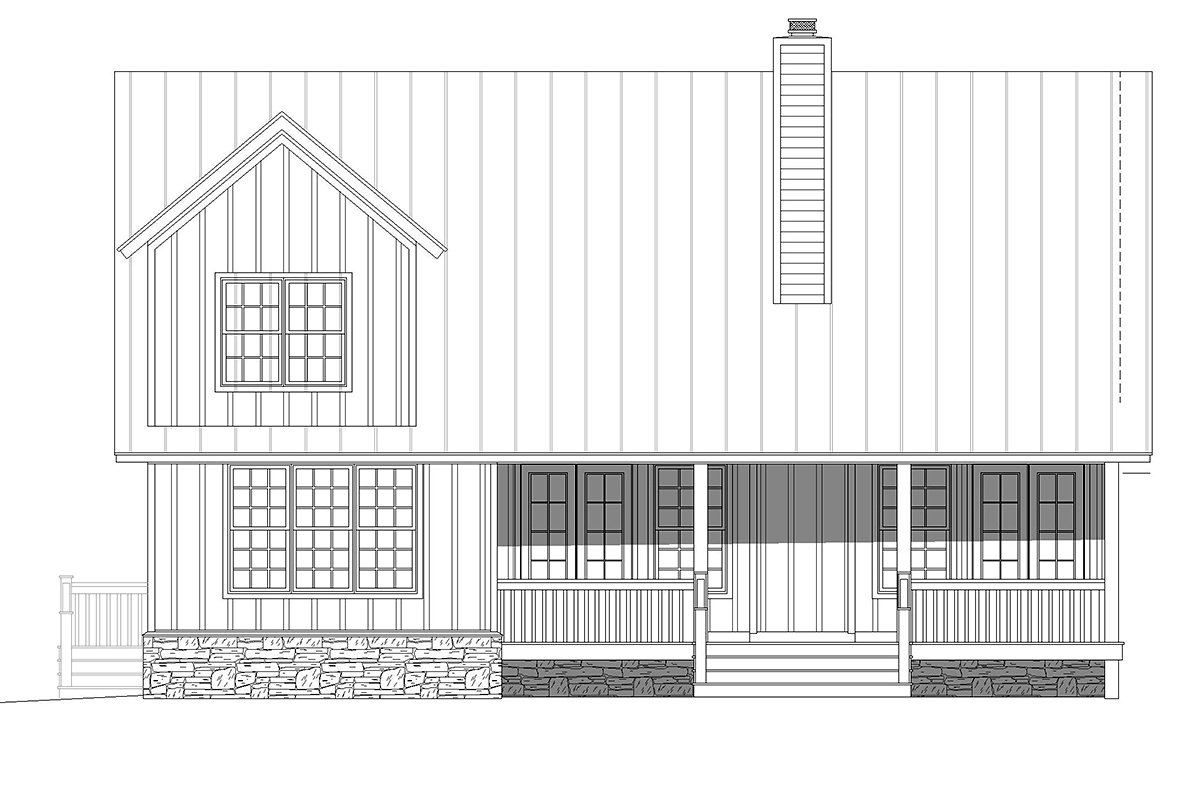 Country, Farmhouse, Traditional House Plan 80923 with 3 Beds, 3 Baths Rear Elevation