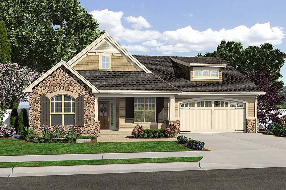 Cottage, Craftsman, French Country, Traditional House Plan 81202 with 3 Beds, 3 Baths, 2 Car Garage Elevation
