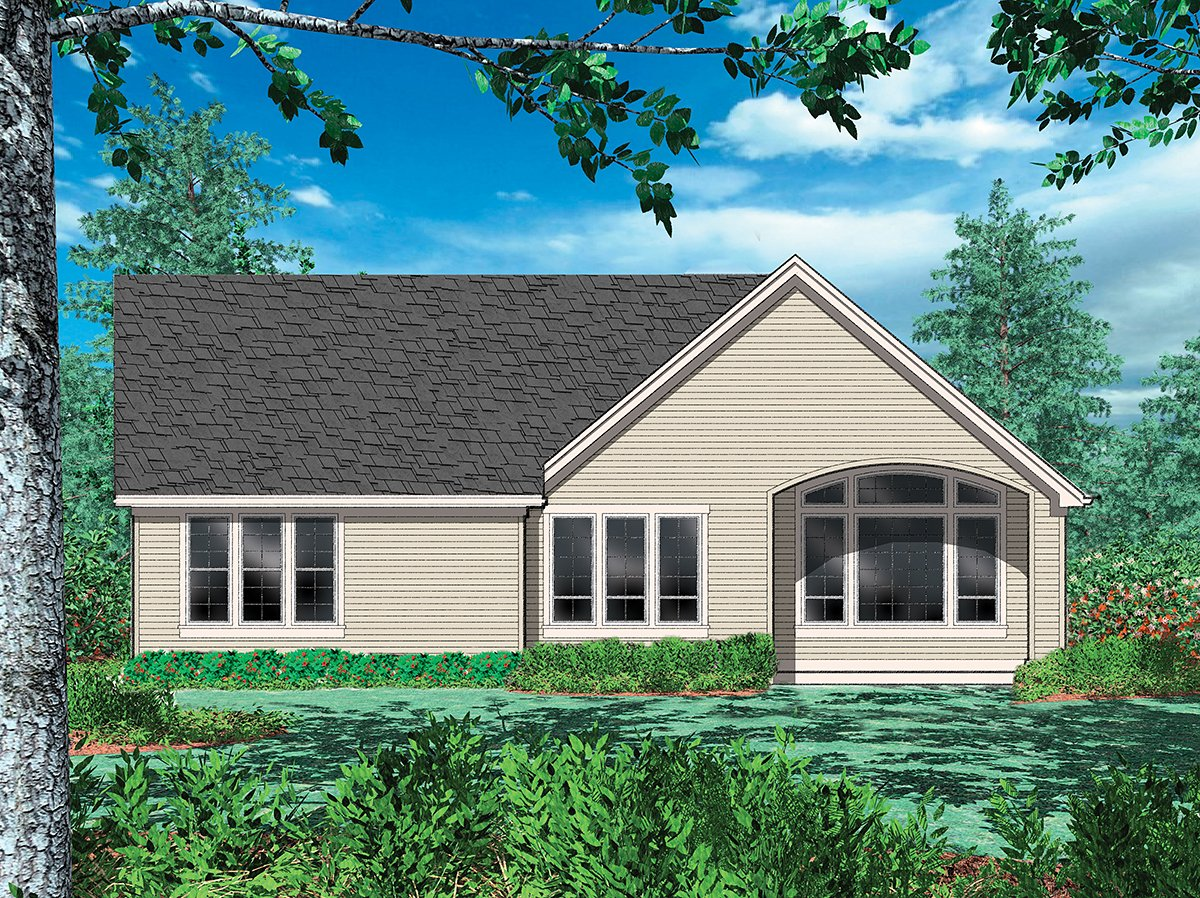 Cottage, Craftsman, French Country, Traditional House Plan 81202 with 3 Beds, 3 Baths, 2 Car Garage Rear Elevation
