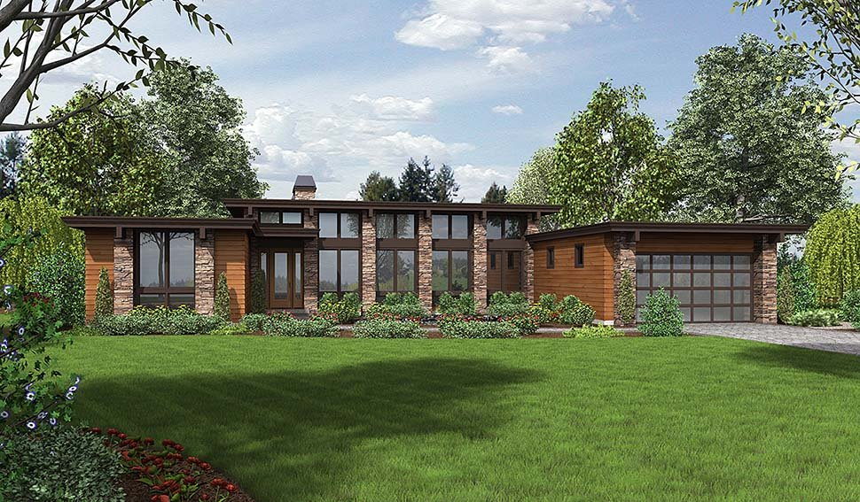 Contemporary, Modern House Plan 81203 with 3 Beds, 3 Baths, 2 Car Garage Elevation