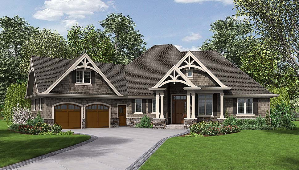 Country, Craftsman House Plan 81204 with 3 Beds, 3 Baths, 2 Car Garage Elevation