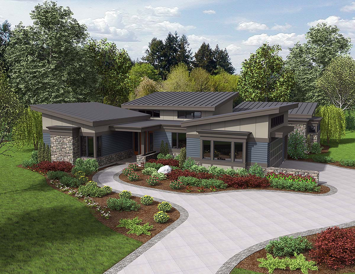 Contemporary, Modern House Plan 81235 with 3 Beds, 3 Baths, 2 Car Garage Elevation