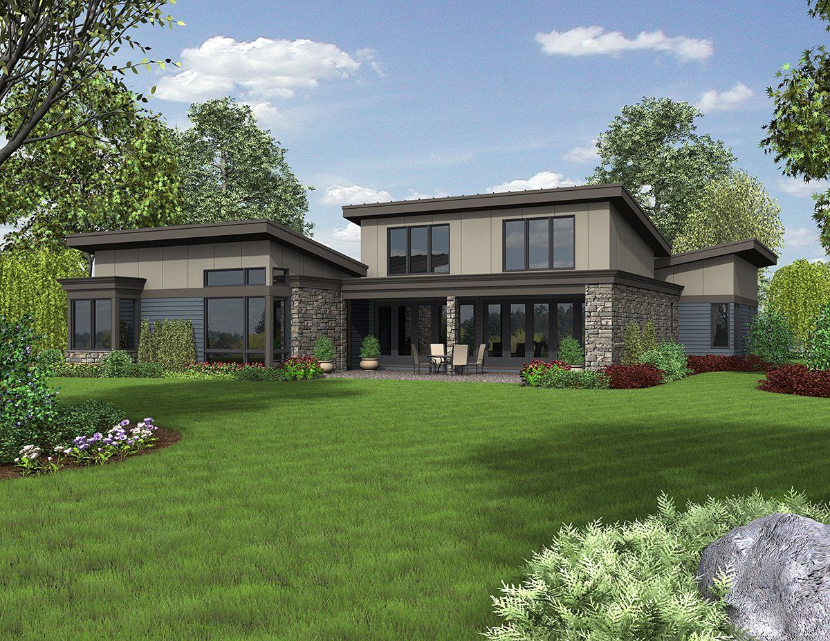 Contemporary, Modern House Plan 81235 with 3 Beds, 3 Baths, 2 Car Garage Rear Elevation