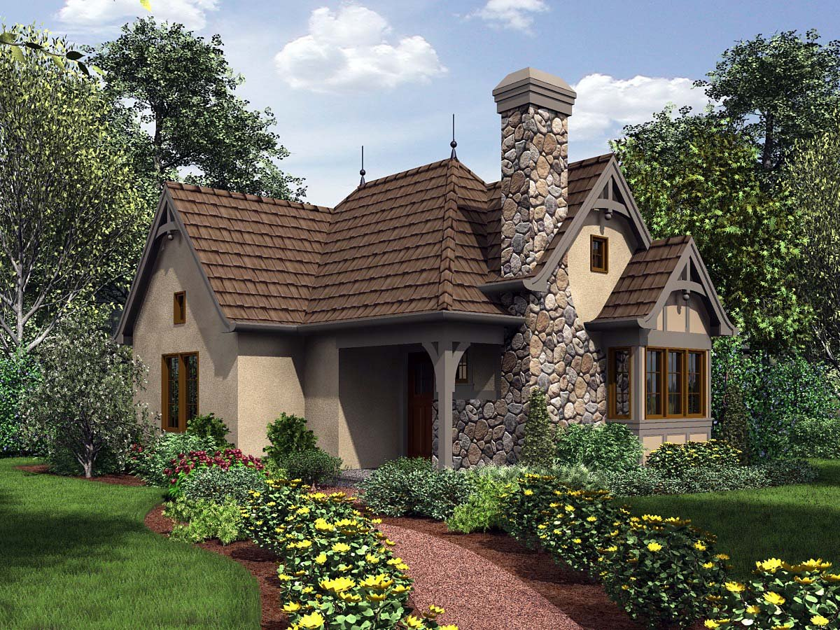 Cottage, Craftsman, One-Story, Tuscan House Plan 81251 with 1 Beds, 1 Baths Elevation