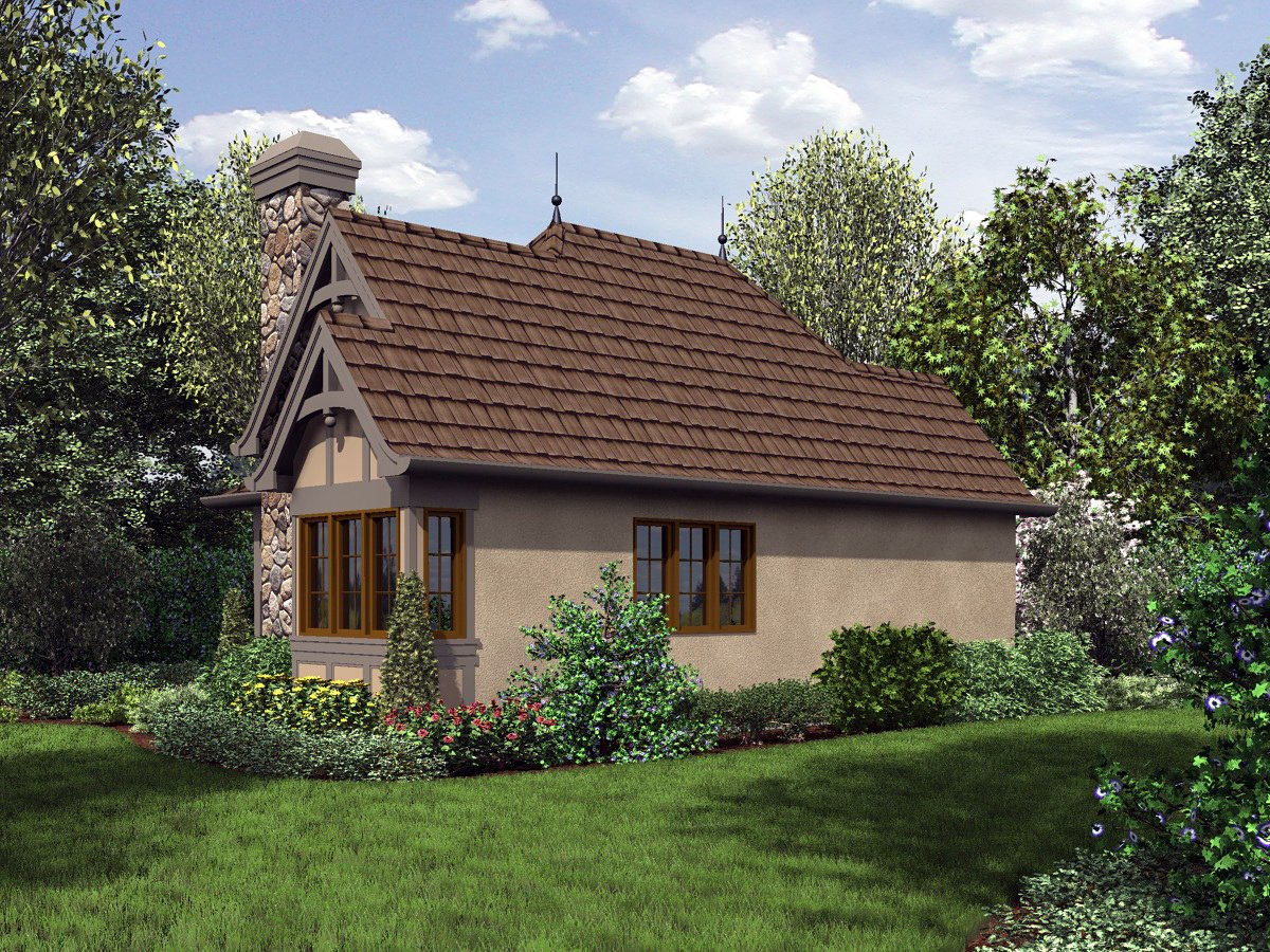 Cottage, Craftsman, One-Story, Tuscan House Plan 81251 with 1 Beds, 1 Baths Rear Elevation