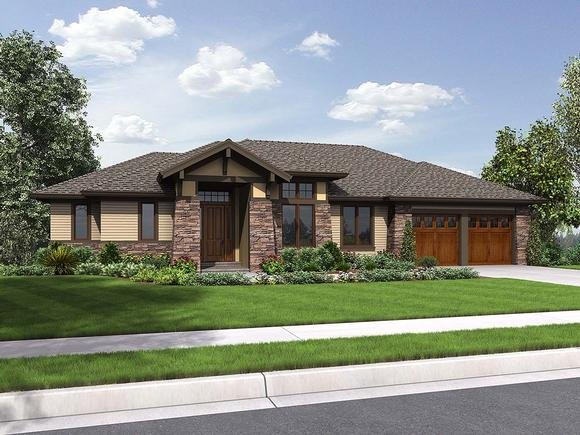 Contemporary, Craftsman, Tuscan House Plan 81262 with 3 Beds, 4 Baths, 2 Car Garage Elevation