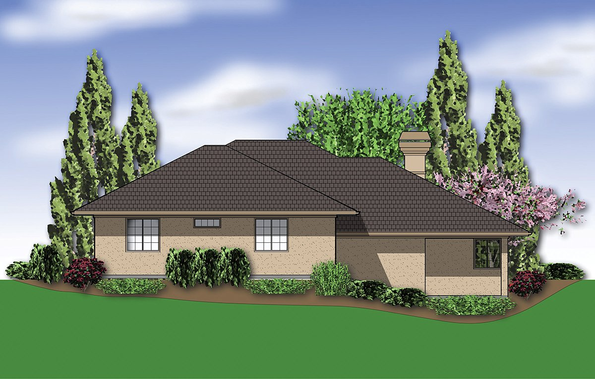 Coastal, Contemporary, Prairie House Plan 81264 with 3 Beds, 3 Baths, 2 Car Garage Rear Elevation