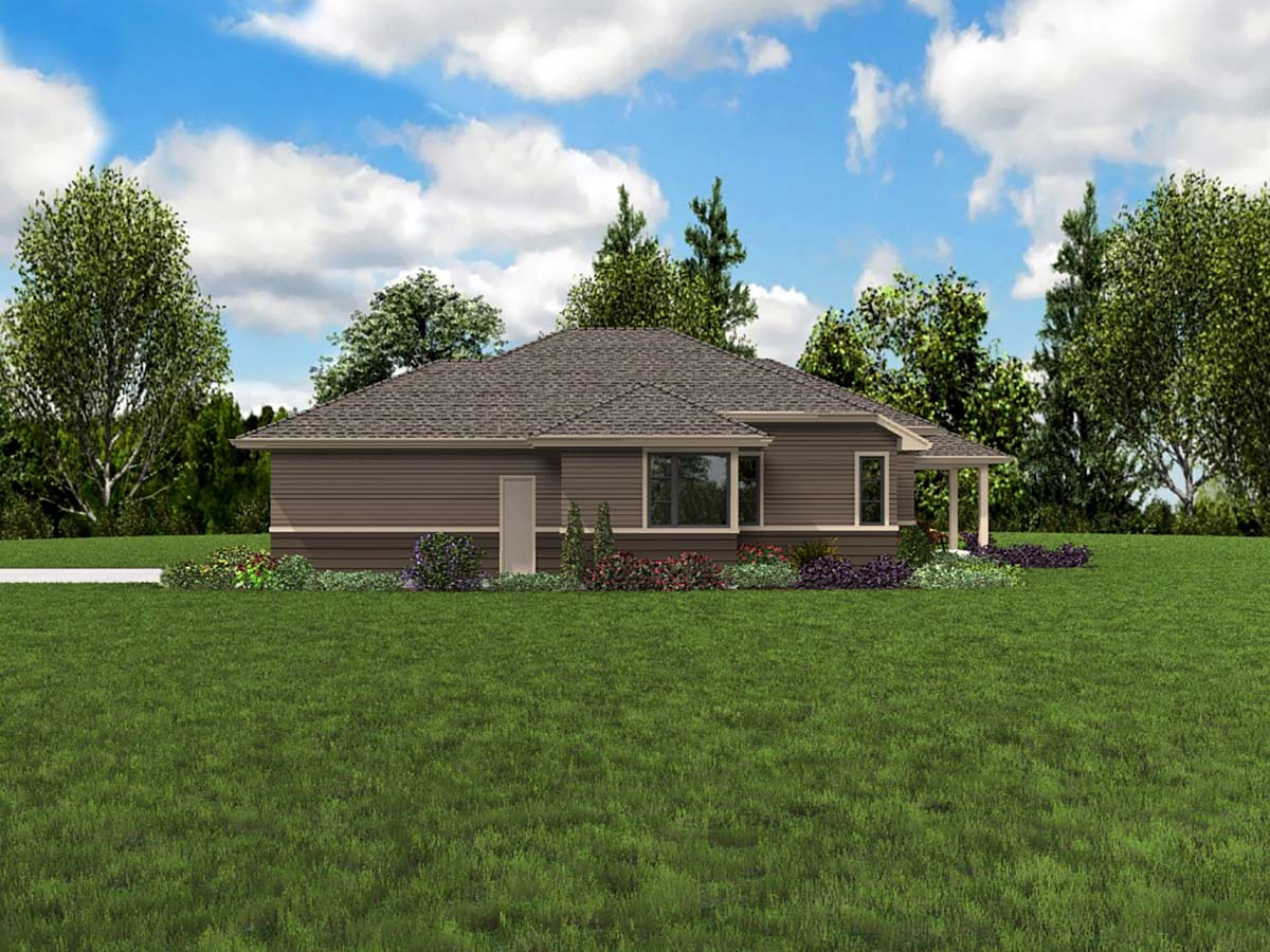Contemporary, Prairie, Ranch House Plan 81266 with 3 Beds, 2 Baths, 2 Car Garage Picture 1