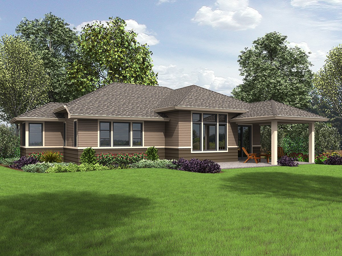 Contemporary, Prairie, Ranch House Plan 81266 with 3 Beds, 2 Baths, 2 Car Garage Rear Elevation