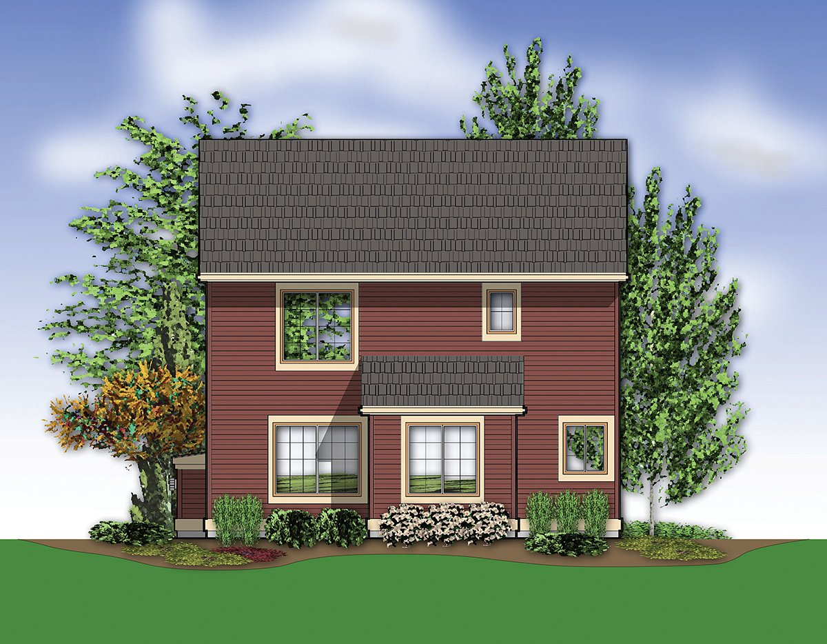 Bungalow, Craftsman House Plan 81281 with 3 Beds, 3 Baths, 2 Car Garage Rear Elevation