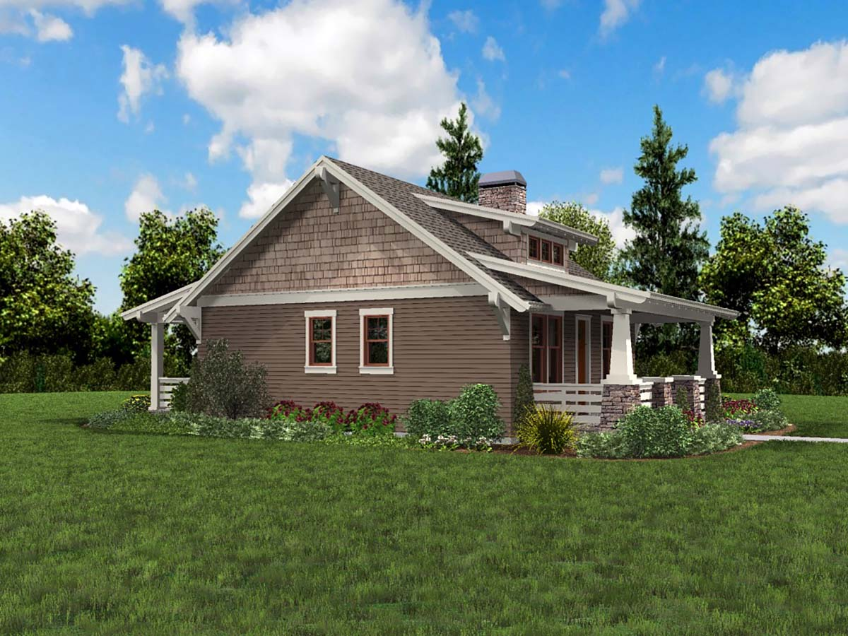 Bungalow, Cottage, Craftsman, Narrow Lot House Plan 81289 with 1 Beds, 1 Baths Picture 2
