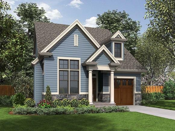 Bungalow, Colonial, Cottage, Craftsman, Narrow Lot House Plan 81293 with 3 Beds, 3 Baths, 1 Car Garage Elevation