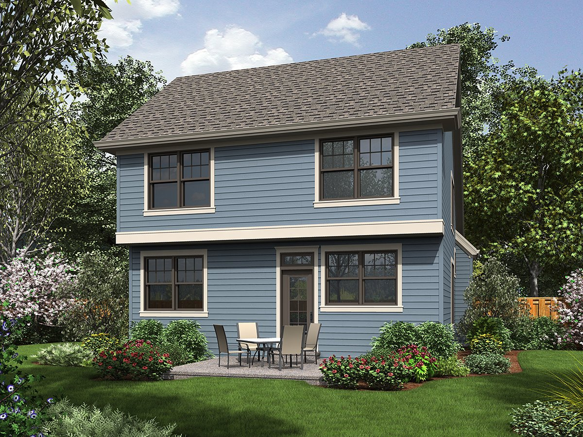 Bungalow, Colonial, Cottage, Craftsman, Narrow Lot House Plan 81293 with 3 Beds, 3 Baths, 1 Car Garage Rear Elevation
