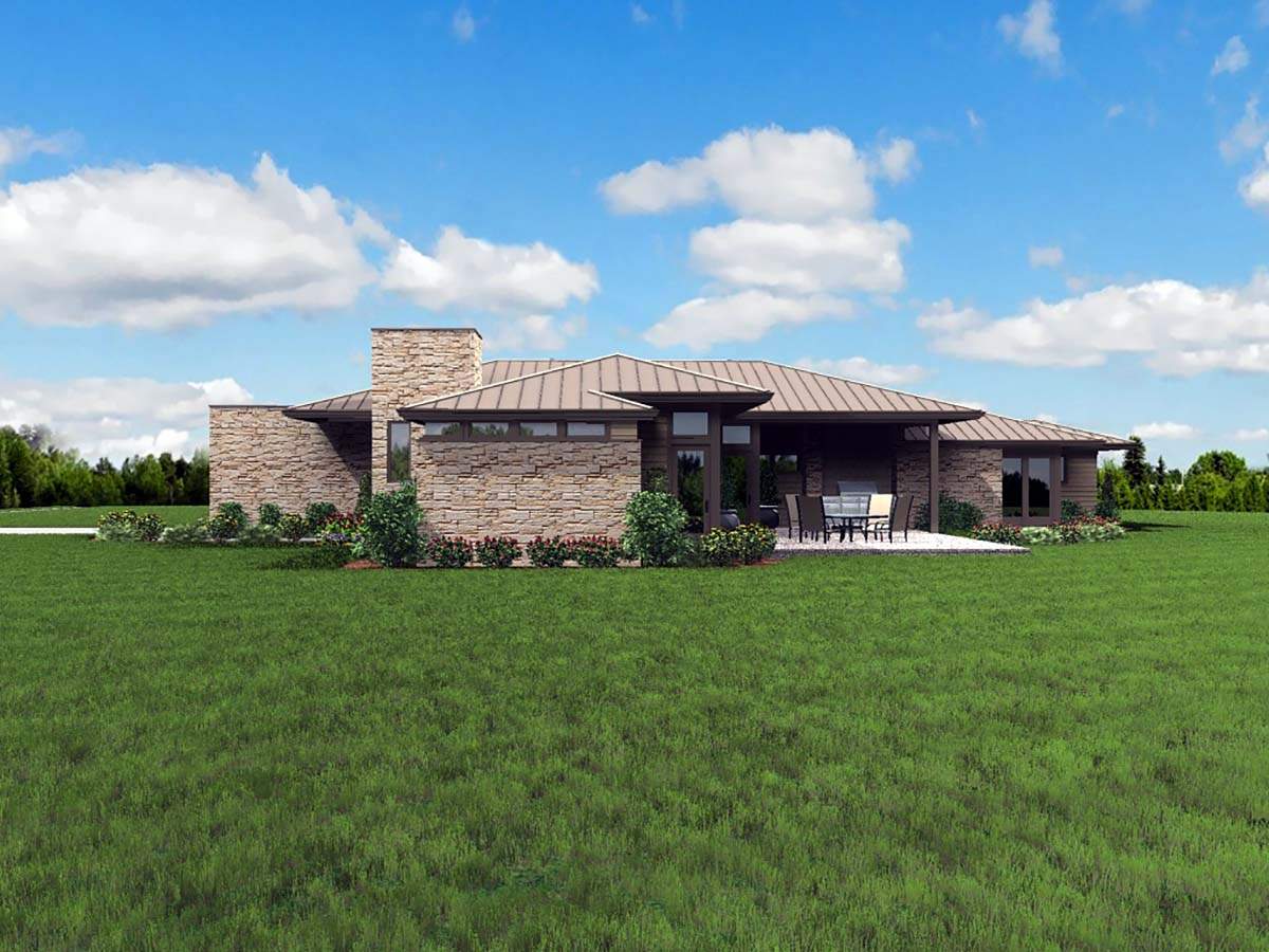 Contemporary, Modern, Prairie House Plan 81298 with 3 Beds, 3 Baths, 2 Car Garage Picture 1
