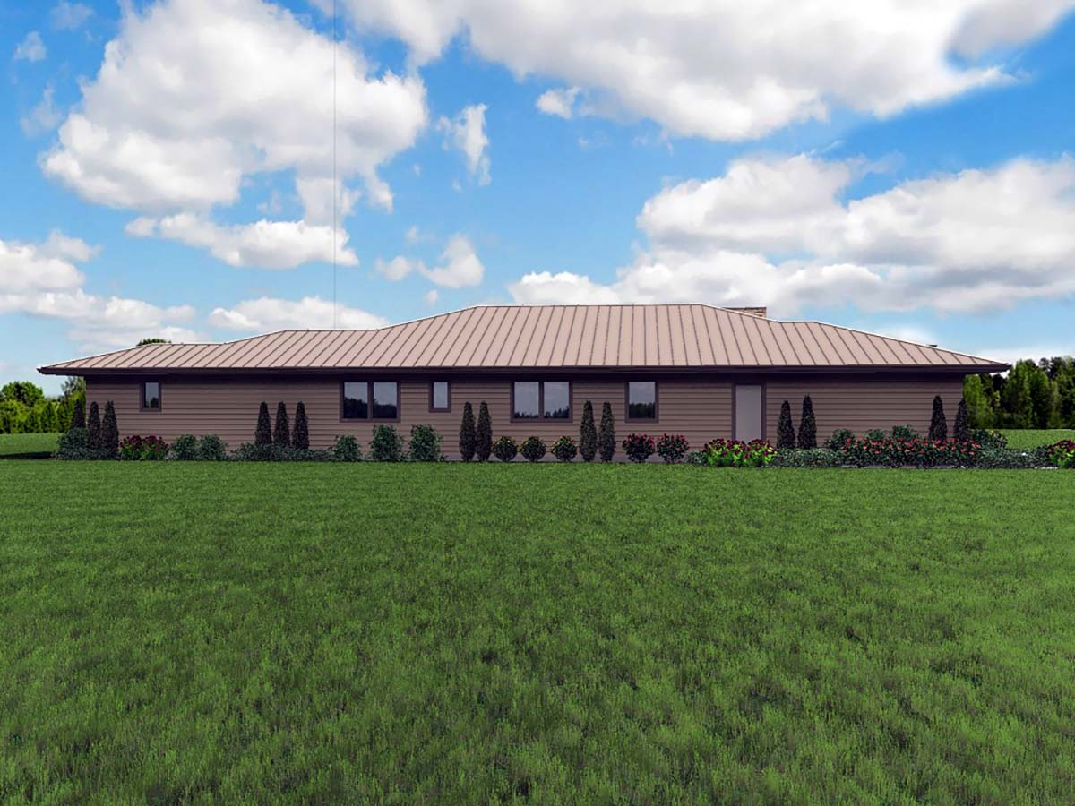 Contemporary, Modern, Prairie House Plan 81298 with 3 Beds, 3 Baths, 2 Car Garage Picture 2
