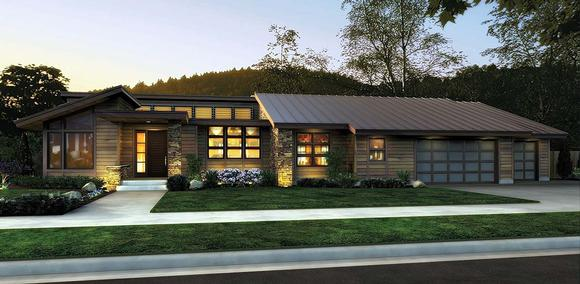 Contemporary, Modern House Plan 81306 with 3 Beds, 4 Baths, 3 Car Garage Elevation