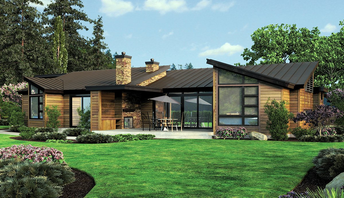 Contemporary, Modern House Plan 81306 with 3 Beds, 4 Baths, 3 Car Garage Rear Elevation