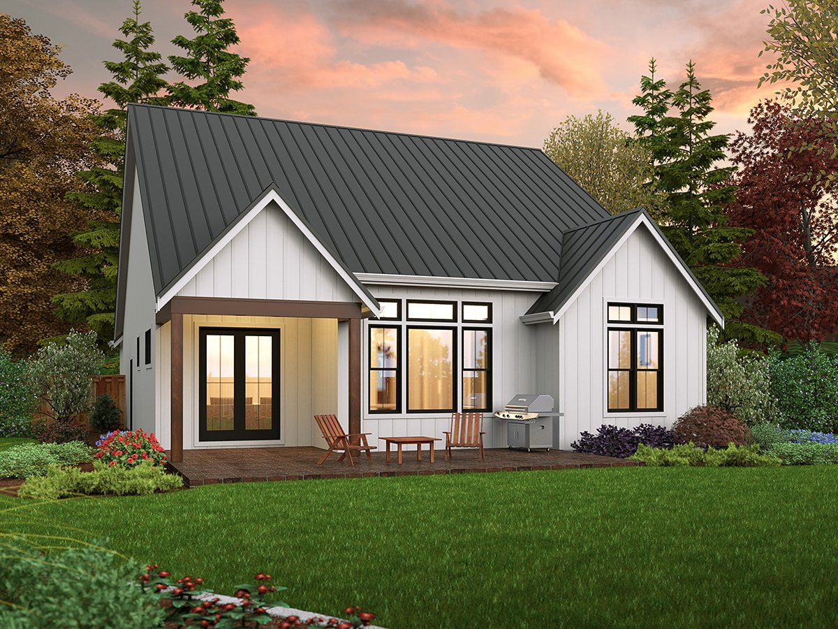 Contemporary, Cottage, Country, Farmhouse, Ranch House Plan 81308 with 3 Beds, 2 Baths, 2 Car Garage Rear Elevation