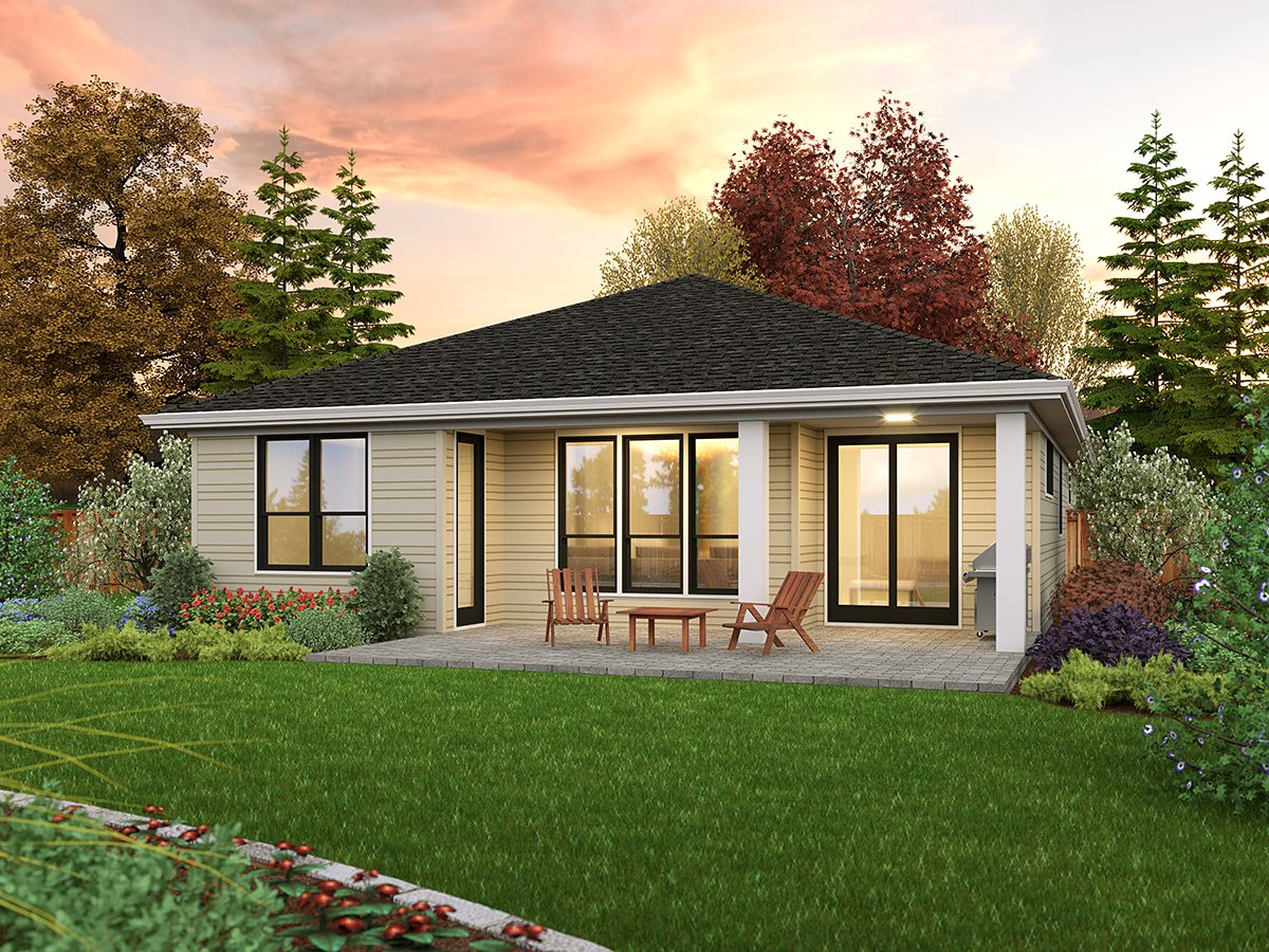 Contemporary, Prairie House Plan 81311 with 3 Beds, 2 Baths, 2 Car Garage Rear Elevation