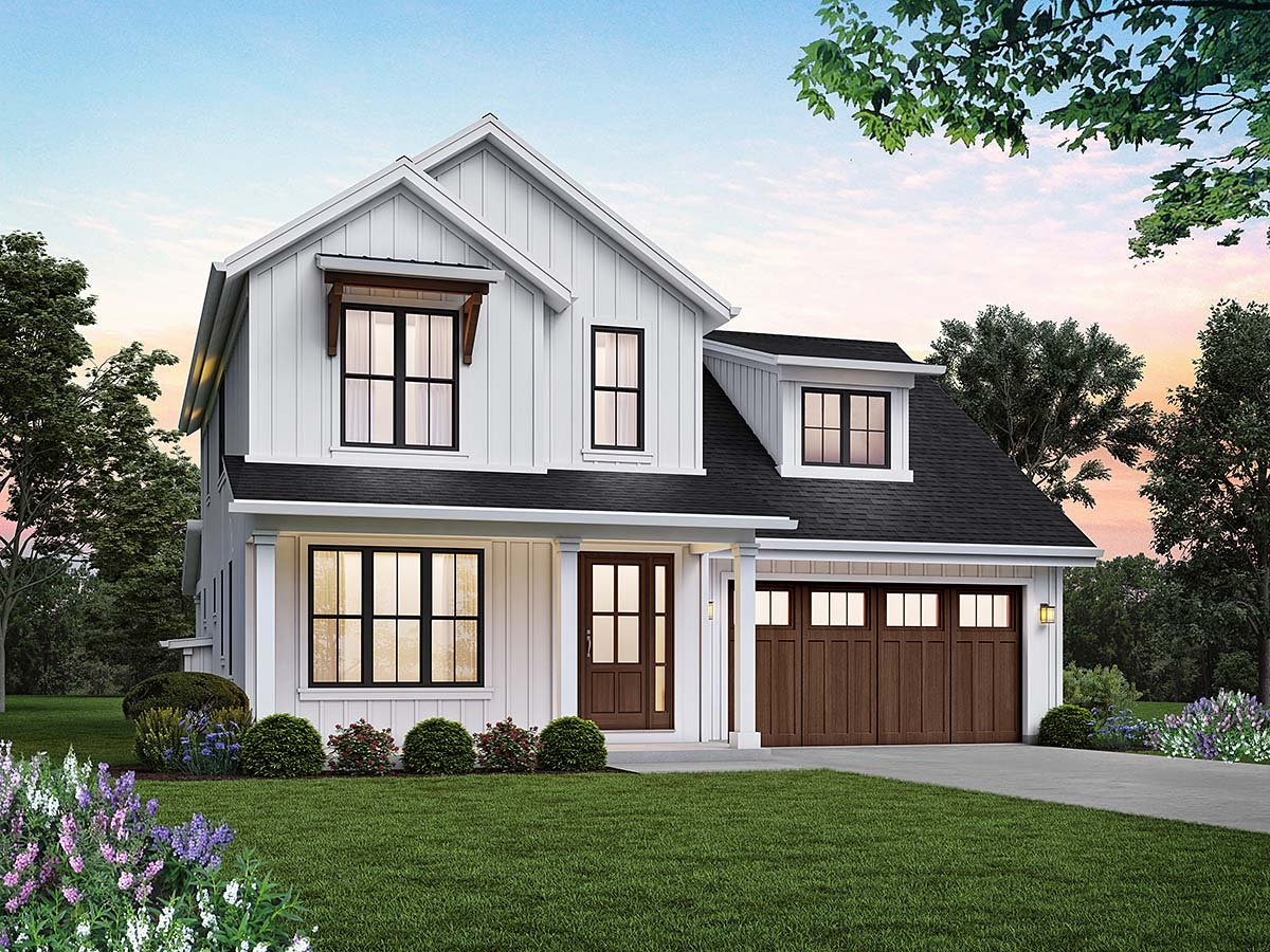 Contemporary, Farmhouse House Plan 81314 with 4 Beds, 3 Baths, 2 Car Garage Elevation