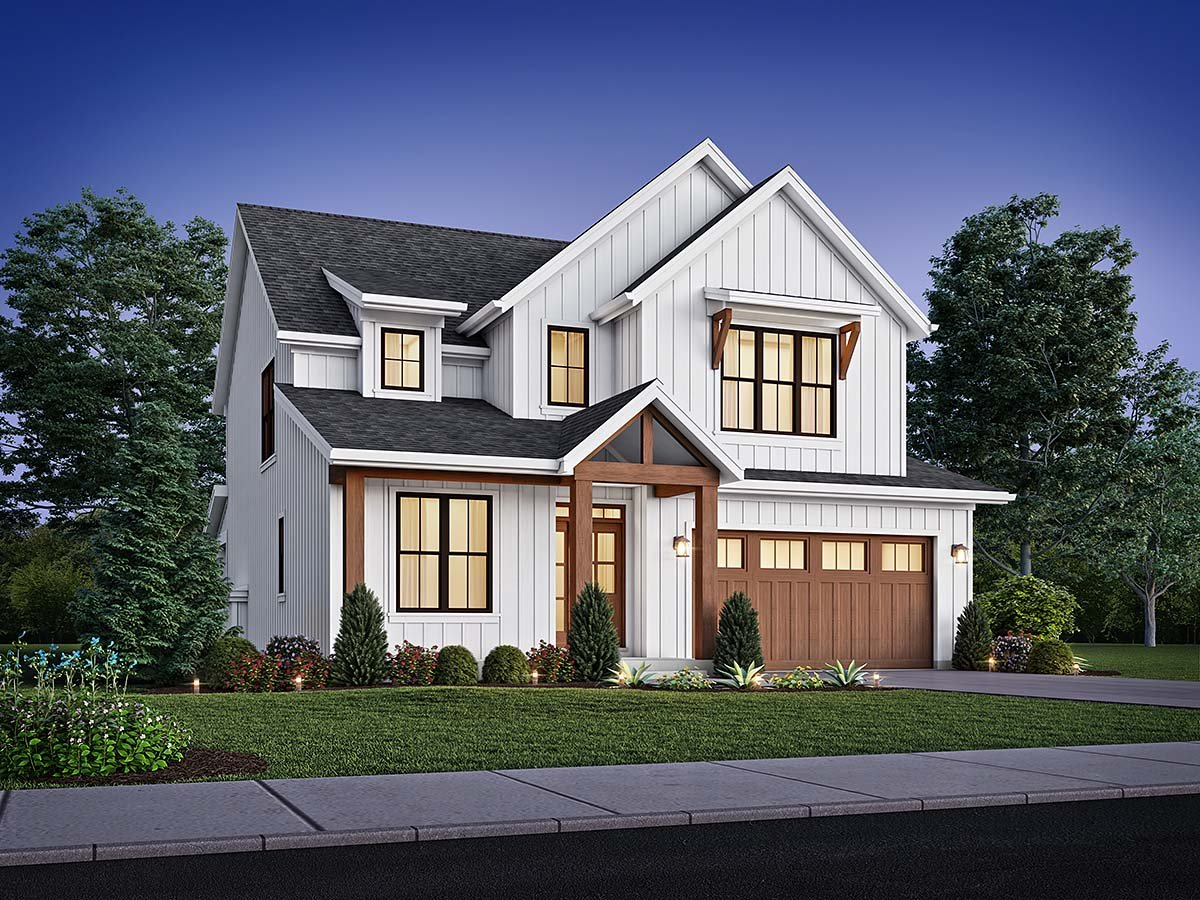 Contemporary, Cottage, Country, Farmhouse House Plan 81315 with 4 Beds, 3 Baths, 2 Car Garage Elevation