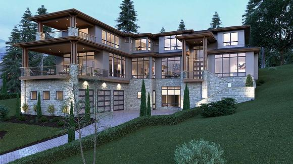 Contemporary, Modern House Plan 81902 with 5 Beds, 6 Baths, 3 Car Garage Elevation