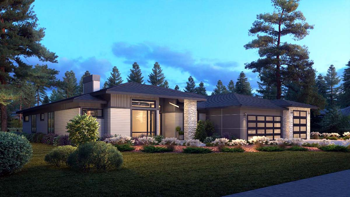Contemporary, Modern House Plan 81906 with 4 Beds, 4 Baths, 3 Car Garage Picture 2