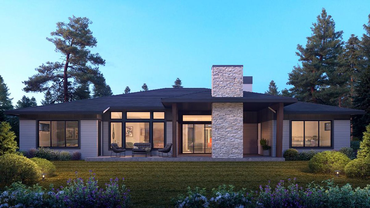 Contemporary, Modern House Plan 81906 with 4 Beds, 4 Baths, 3 Car Garage Rear Elevation