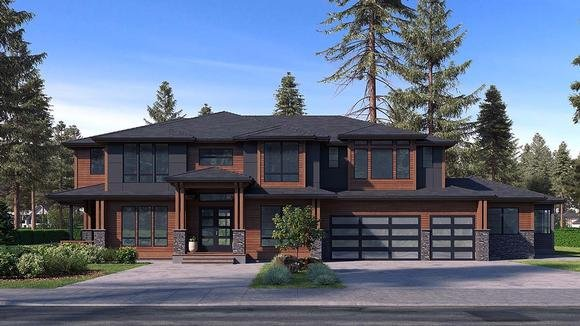 Contemporary, Modern House Plan 81953 with 6 Beds, 6 Baths, 3 Car Garage Elevation