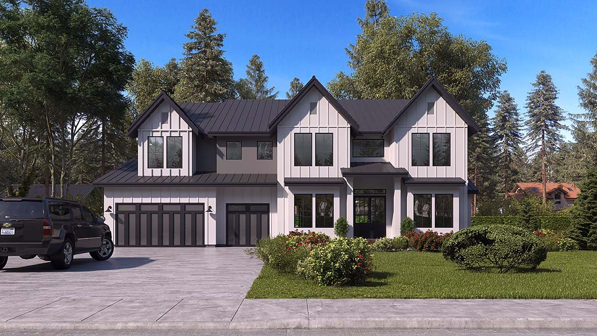 Craftsman, Farmhouse, Traditional House Plan 81956 with 5 Beds, 6 Baths, 3 Car Garage Elevation