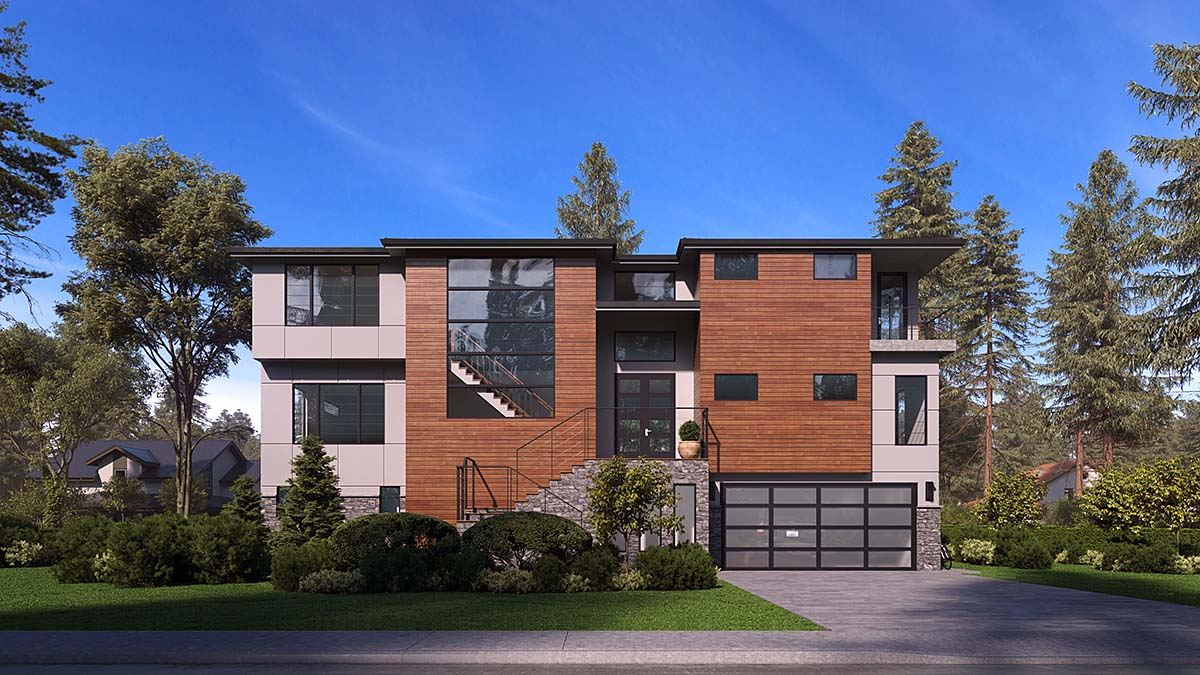 Contemporary, Modern House Plan 81957 with 4 Beds, 6 Baths, 4 Car Garage Elevation