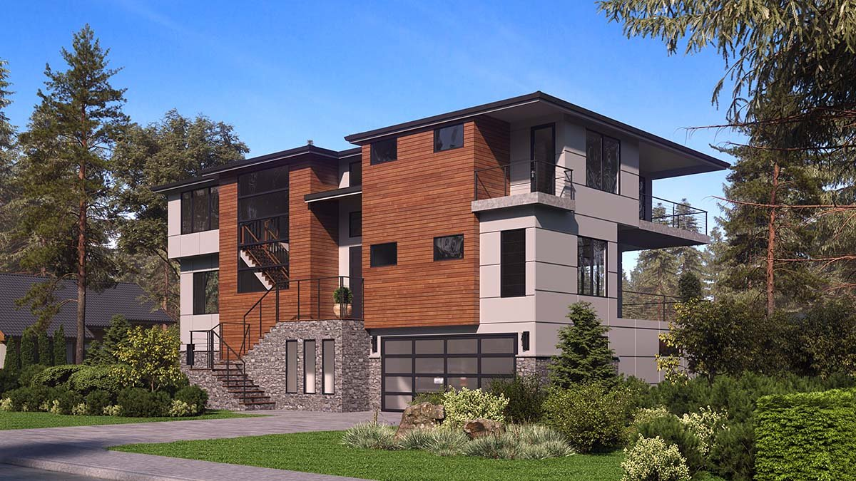 Contemporary, Modern House Plan 81957 with 4 Beds, 6 Baths, 4 Car Garage Picture 1