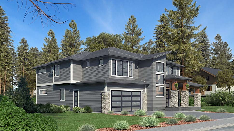 Contemporary, Modern House Plan 81959 with 5 Beds, 5 Baths, 2 Car Garage Picture 2