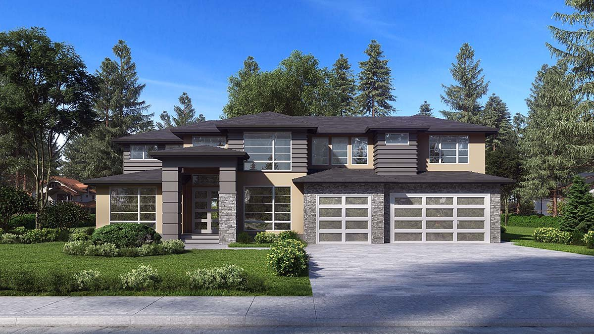 Contemporary, Modern House Plan 81961 with 4 Beds, 3 Baths, 3 Car Garage Elevation